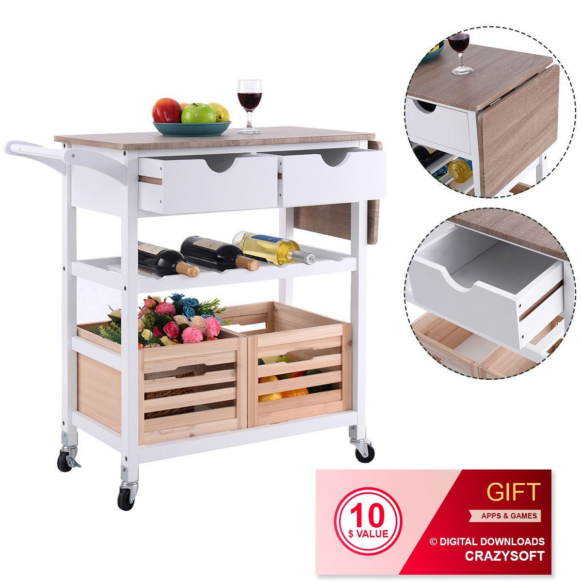 Get Quotations Rolling Kitchen Island Trolley Cart With Wine Shelf By Choice Products