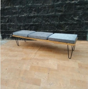 Industrial Vintage Garden Bench, Wooden Bench With Cushion. Three Seater Garden  Bench