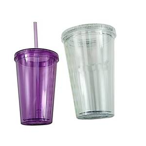 High Quality Acrylic Double Wall Plastic Tumblers With Straw