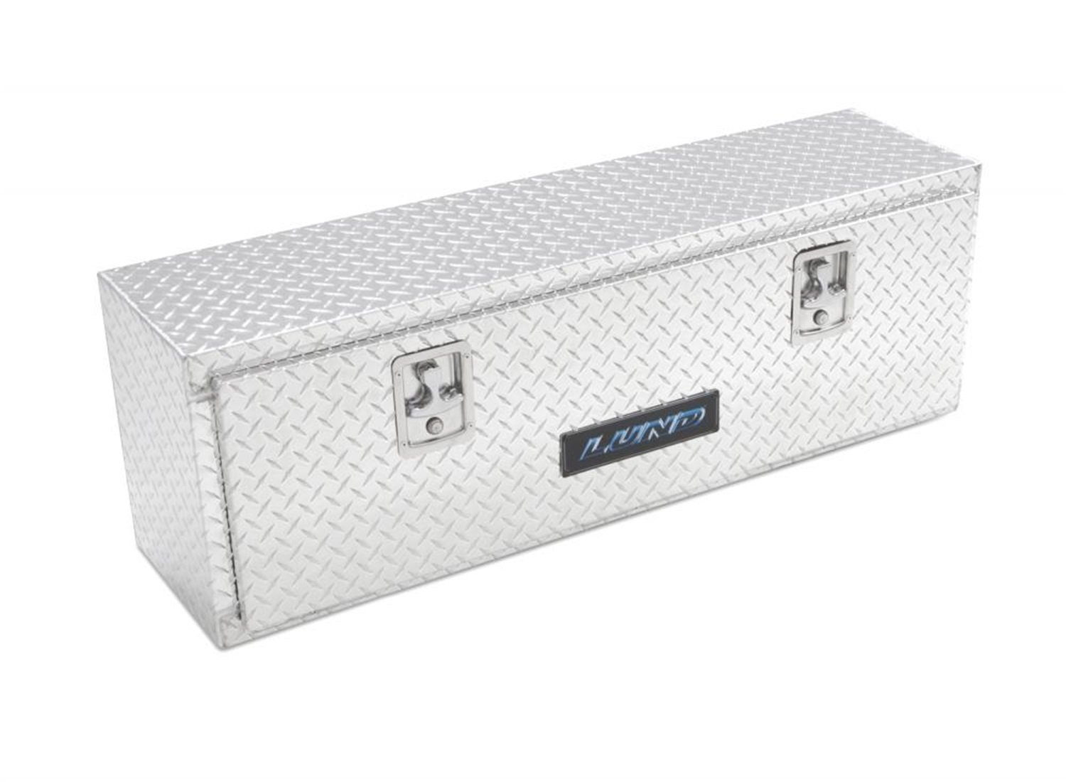 Lund 9210 60-Inch Aluminum Mid-Size Cross Bed Truck Tool Box with Full Lid Diamond Plated Silver