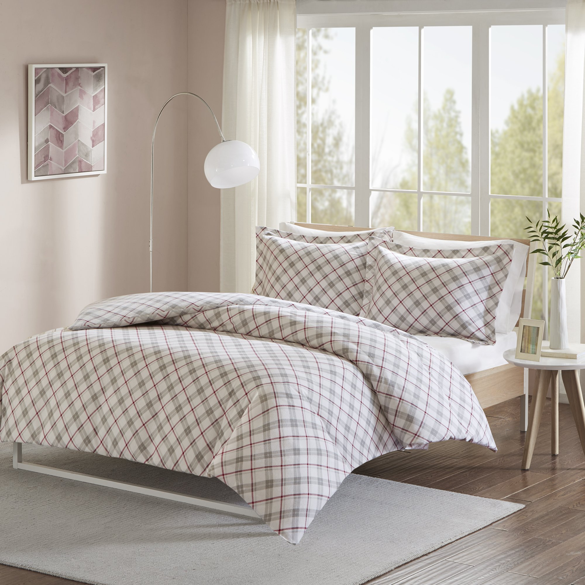 Comfort Spaces - Ultra Soft 100% Cotton Plaid Flannel Mini Duvet Cover Set - 3 Piece - Grey/Red - King Size, Includes 1 Duvet Cover, 2 Shams