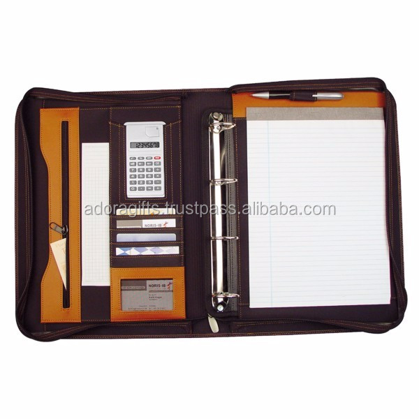 Briefcase Bag type leather conference folder with rings