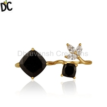 CZ Black Onyx Gemstone Ring handmade Designer Gold Plated Silver Ring Jewelry Manufacturer
