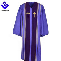 Unisex Clergy Robe Bishop Purple Pulpit Robe with Gold Trim Latin crosses