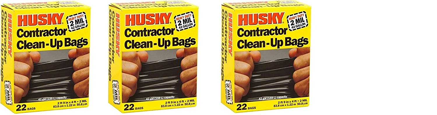 Husky Hk42wc022b Contractor Clean-up 22 Bags, 42 Gallon (3 x 22 Bags,)