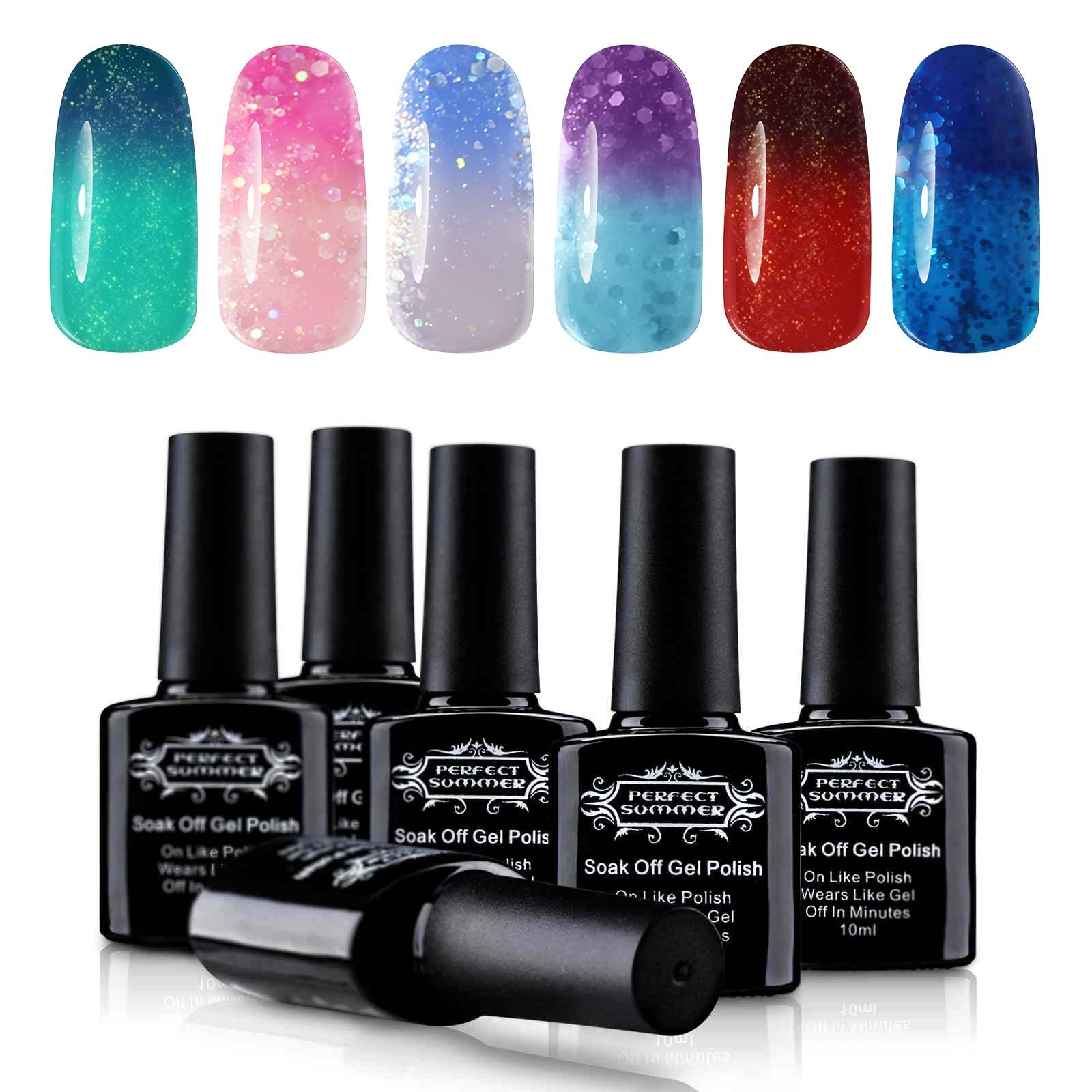 Soak Off UV/LED Gel Nail Polish, Mood Changing, Temperature Colors Changes Perfect Match Thermal Lacquers, Pack of 6 x 10ml -Set #03 by Perfect Summer