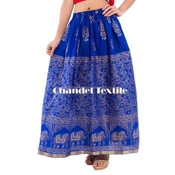 03a648b17b Jaipuri Rajasthani Cotton Gold Print Straight long Skirt for Women Girls  Gold Border skirts Embroidered skirts