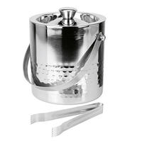 Stainless Steel Double Walled Insulated Hammered Ice Bucket with Lid and with Tong.Bar Ice Bucket