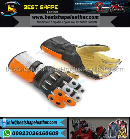 Motorbike Racing Gloves Full grain Genuine Cowhide Aniline leather, knuckle protection, TPU air ventilated protection at fingers
