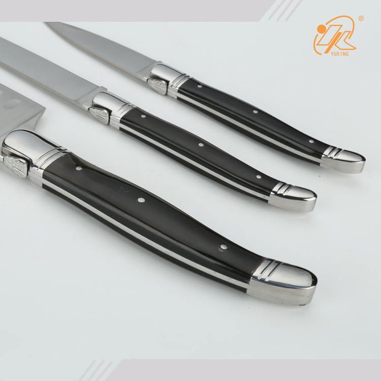 Black oxhorn handle sharp edge stainless steel Laguiole kitchen knife set