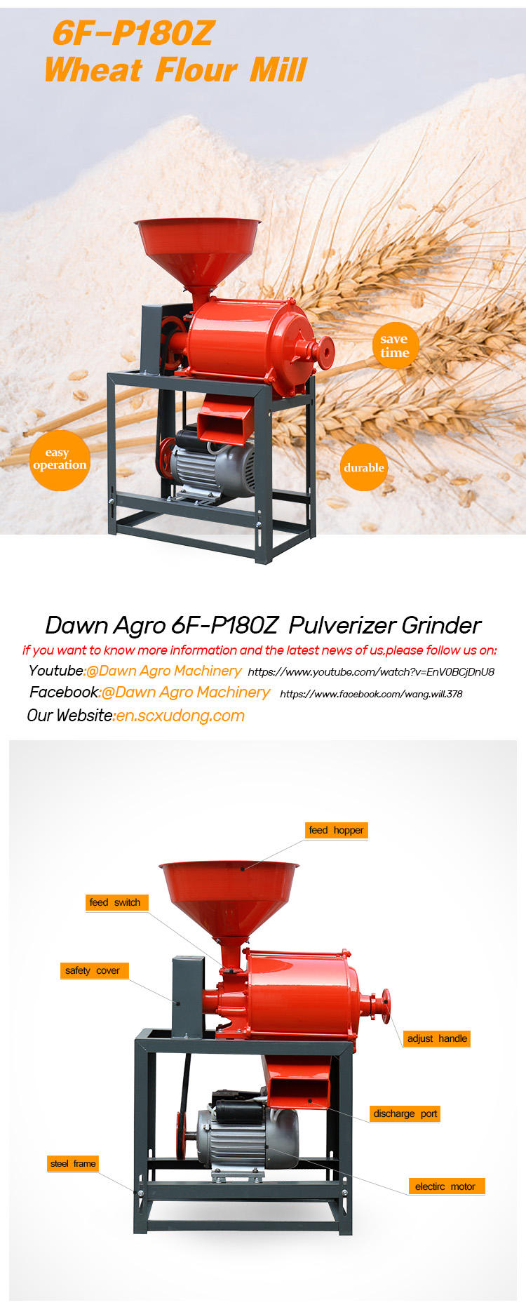DAWN AGRO Grain Wheat Mill Crusher Grinder Flour Mill Machine India