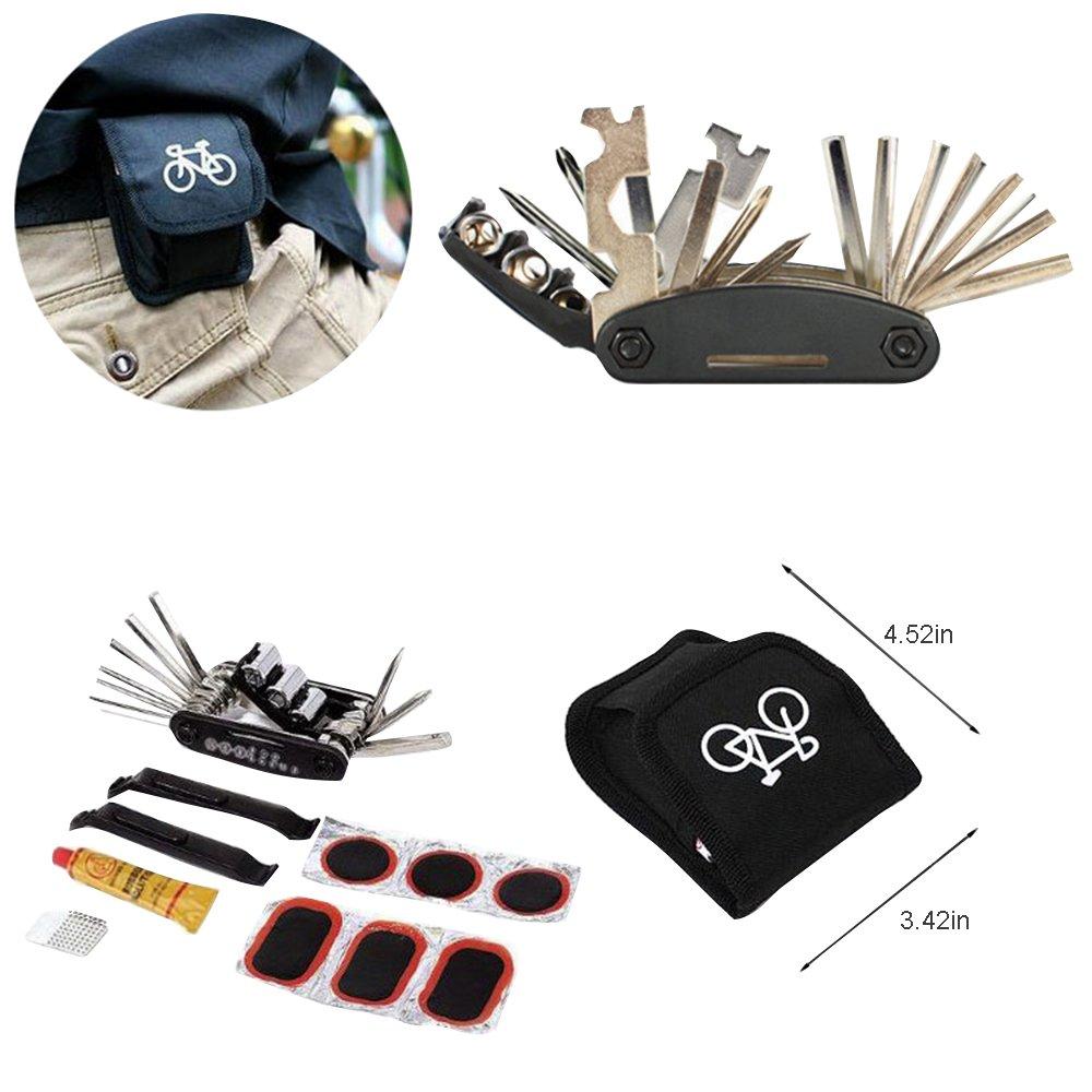 YOOKOON Bike Repair Tool Kits Set Multi Function 16 in 1 Emergency Folding Tools Bicycle Accessories Repair Tools