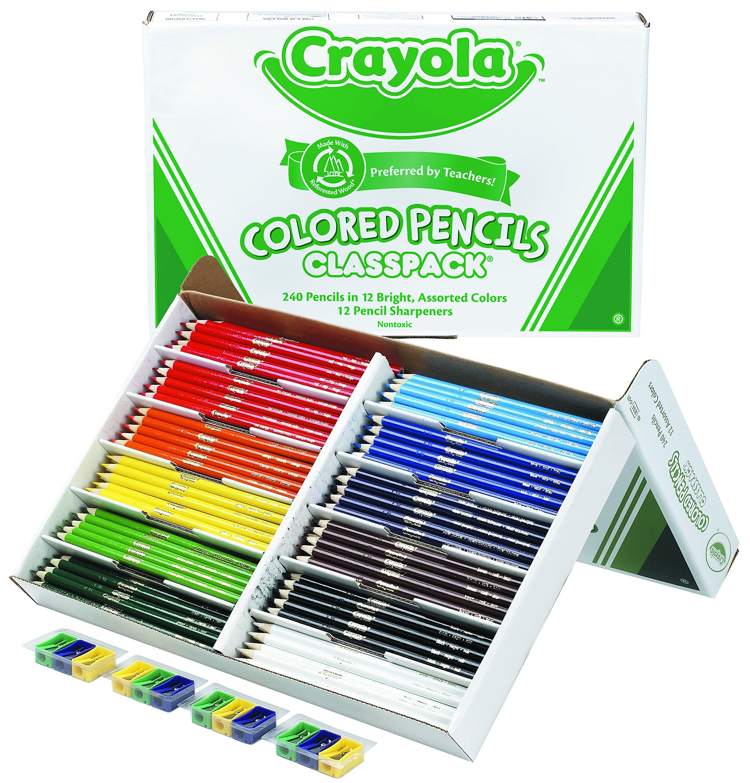 Crayola Colored Pencil Bulk, 240 Count Classpack, 12 Assorted Colors