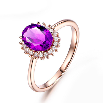 925 Sterling Silver Natual Amethyst Women Engagement Ring Fine Wedding Gemstone Jewelry Oval Shape