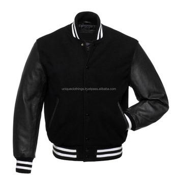 89205e0801a16 New Black Wool And Black Leather Varsity Letterman Jacket