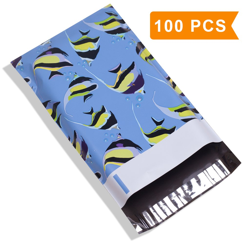 UCGOU #1 6X9 2.35MIL Butterflyfish Designer Poly Mailers Shipping Envelopes Boutique Custom Bags Pack of 100