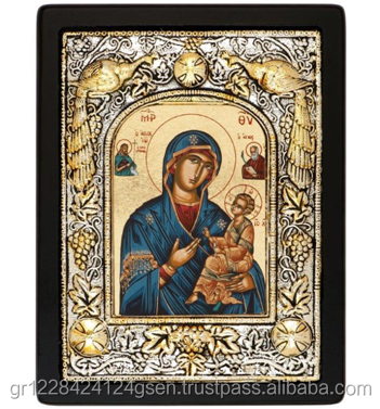"""Mary with Saint John"" - Christian Greek Orthodox Silk Screen Religious Wooden Craft Icon covered with Silver 950"