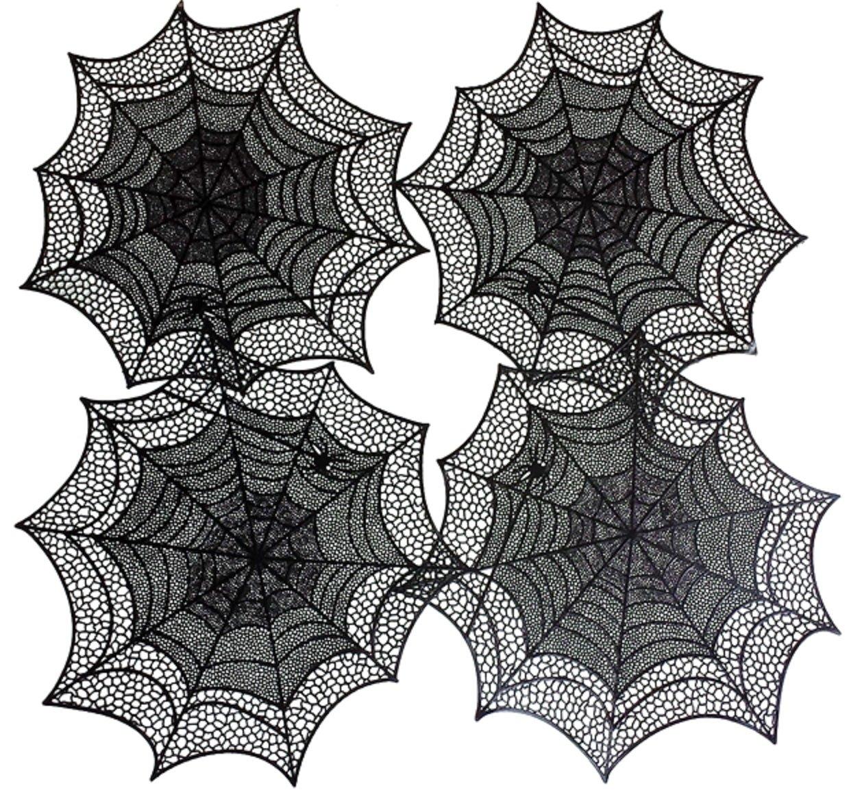 Benson Mills Spider Web Pressed Vinyl Placemats, Black, Set of 4