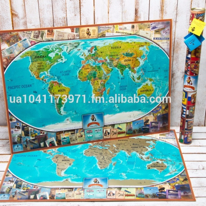 Premium travel scratch world map scratch off map poster premium travel scratch world map scratch off map poster personalized buy scratch off maptravel mappush pin map product on alibaba gumiabroncs Gallery