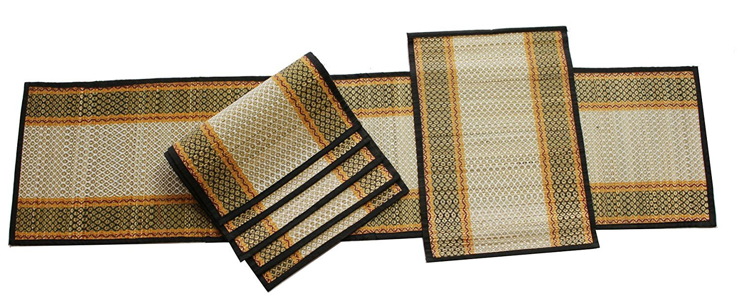 Buy Sale On Placemats Table Runner For Dining Table Dcor Dinner Party Ideas Set Of 6 Placemats 1 Table Runner Handmade Reversible Rollable Straws And Threads Woven Table