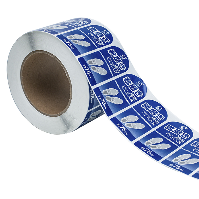 cheap custom adhesive logo printed stickers etiketten waterproof synthetic paper vanish roll label for plastic bottle