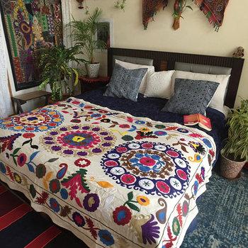 Luxury Bohemian Decor Handloom Bright Suzani Colourful Sofa Christmas Throw Bed Cover Indian Vintage 100 Cotton Bed Spread Buy Cotton Original