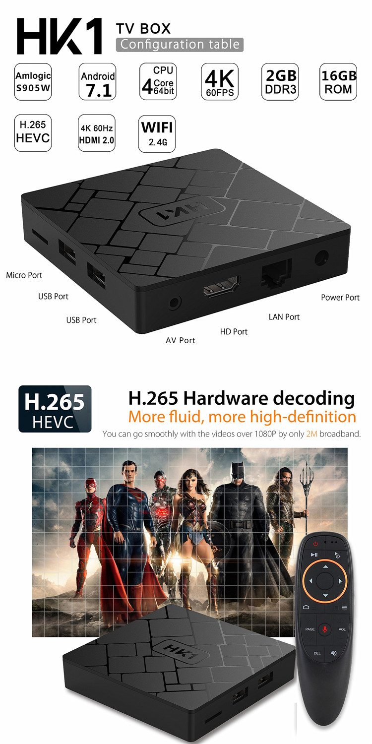 2019 neue produkt HK1 2 gb + 16 GB Wifi Android 7.1 S905W Box TV Empfänger set top box