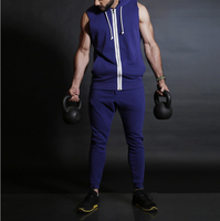Custom Sleeveless Sweat Suit For men Sports Fitness Gym Jogging Compression Suit Running Wear