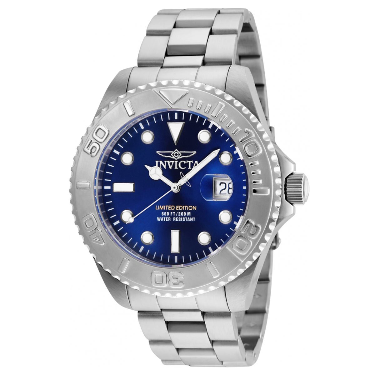 Invicta Men's 'Pro Diver' Quartz Stainless Steel Diving Watch, Color:Silver-Toned (Model: 24623)