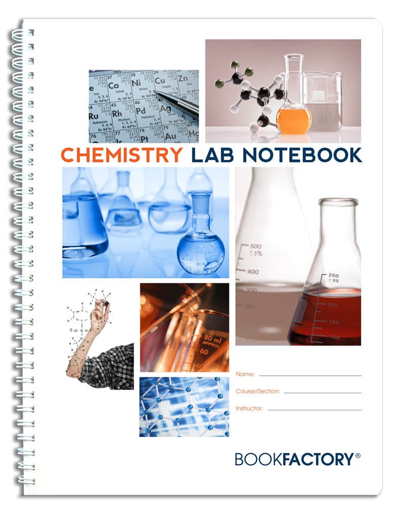 """BookFactory Chemistry Lab Notebook - 75 Pages(8.5"""" X 11"""") -Scientific Grid Pages, Durable Translucent Cover, Wire-O Binding -Page Size: 8"""" x 11"""" (21.6cm x 27.9cm)(LAB-075-7GW (Chemistry))"""