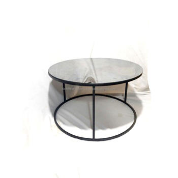Round Shape Modern Design Black Coffee Table With Mirror Top Nesting Tables Gl 30x30