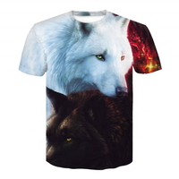 Wholesale top quality custom made Mens Summer Short Sleeve 3D Digital Print Twin Wolves T Shirt