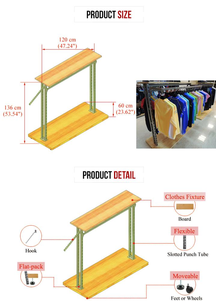 Customize shop clothing garment wood metal rack display