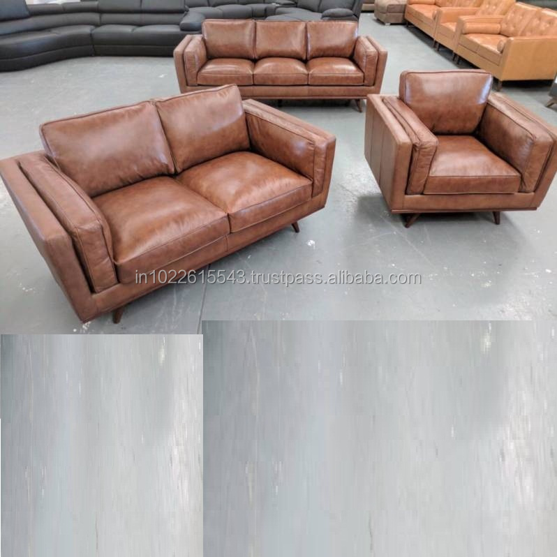 Aged Leather Suede Brown Vintage Sofa