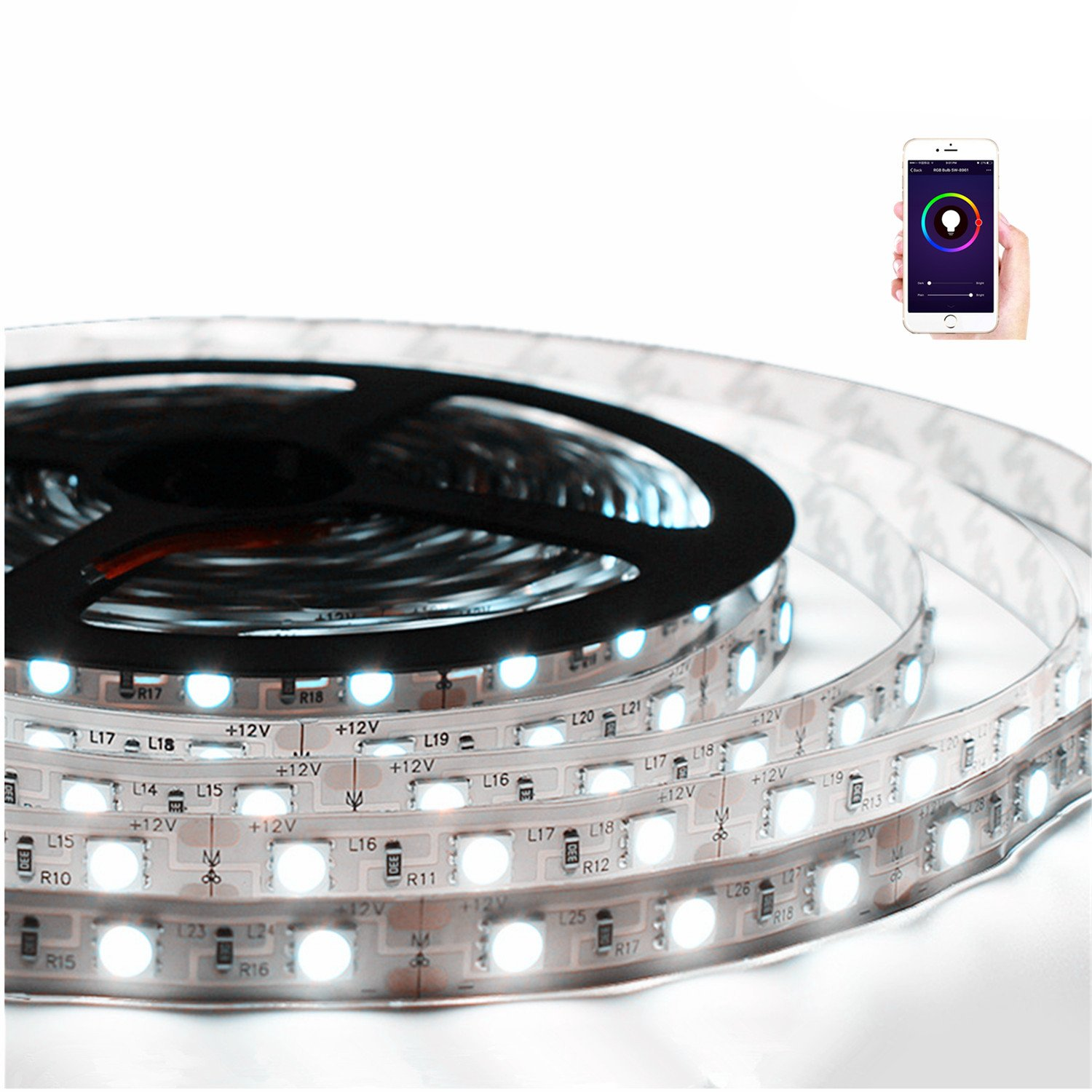 Cevitor Smart LED Light Strip 5M/16.4Ft,Wi-Fi, Dimmable,Smartphone Controlled and Alexa For Voice Control,16 million Color,Not Hub Requires