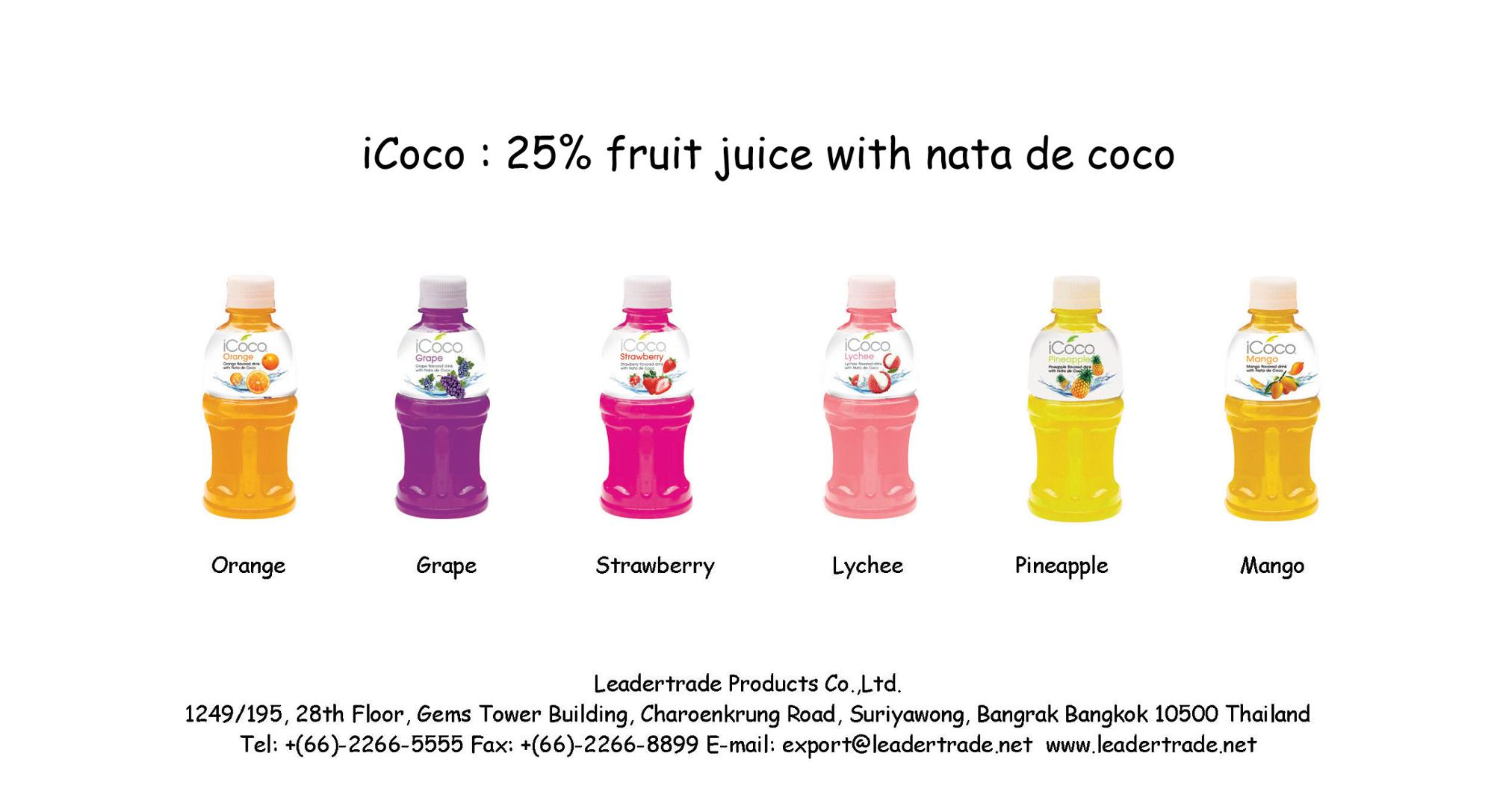 Thailand fruit juice nata de coco coconut jelly drink iCoco (Orange), View  nata de coco, iCoco Product Details from LEADERTRADE PRODUCTS CO , LTD  on