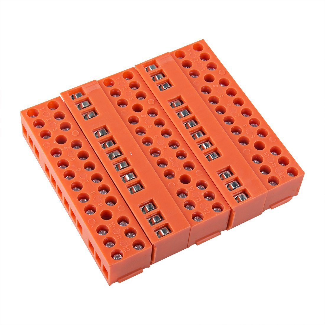 uxcell 5 Pcs 600V 36A Dual Row 12 Positions Screw Terminal Electric Barrier Strip Block