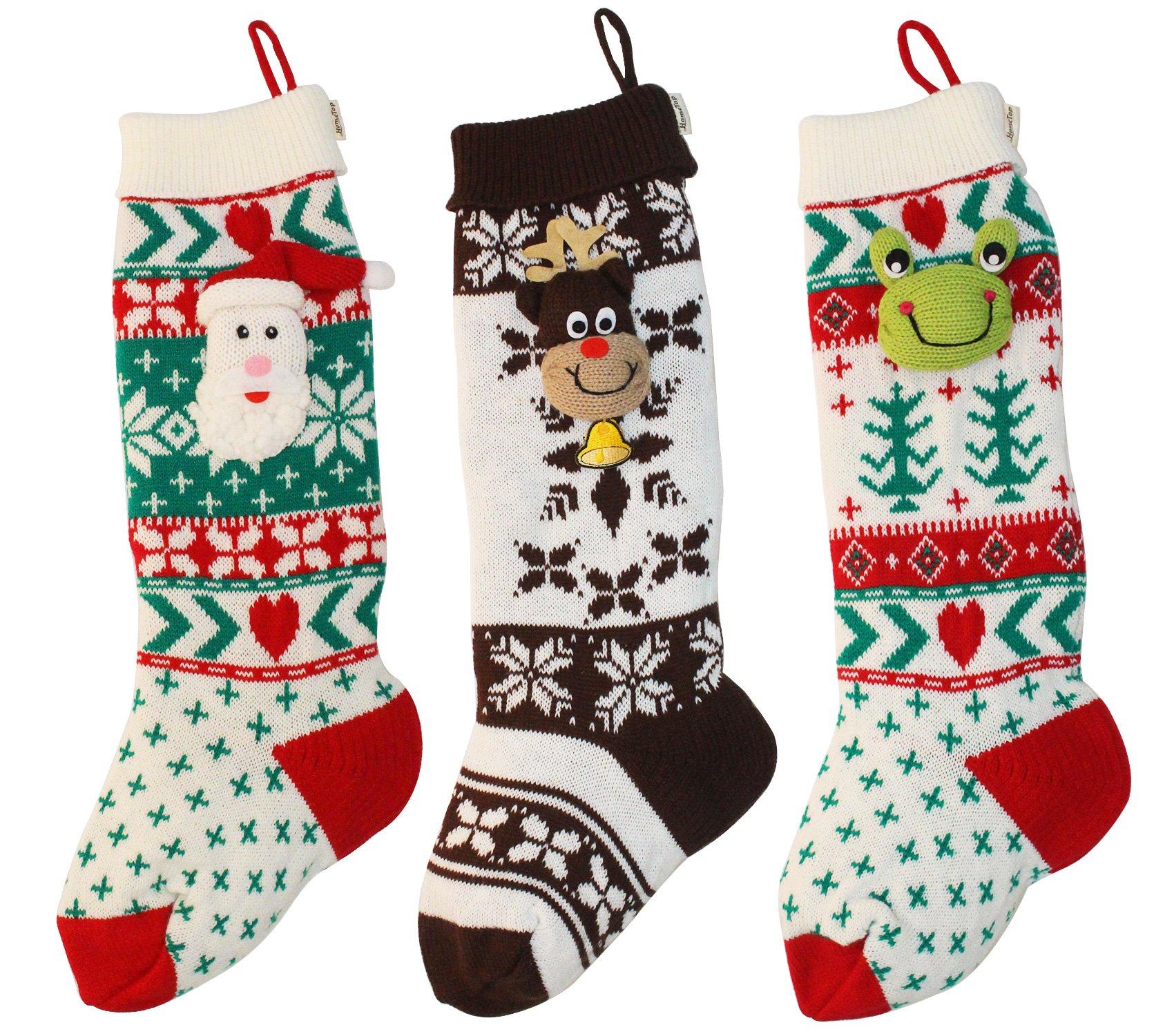 """HomeTop Set of 3 Cute 3D Santa & Reindeer & Frog Knit Christmas Stockings (25"""")"""