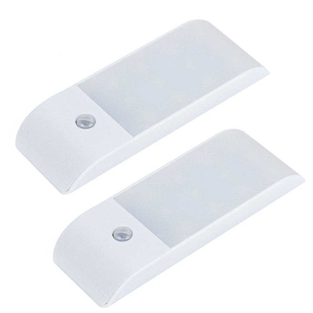 Bonlux Rechargeable LED Motion Sensor Closet Lights Portable Wireless Night Light with Magnetic Strip DIY Stick-on Anywhere for Cabinet Wardrobe Kitchen Step Wall Sconce Light (Warm White, 2-Pack)