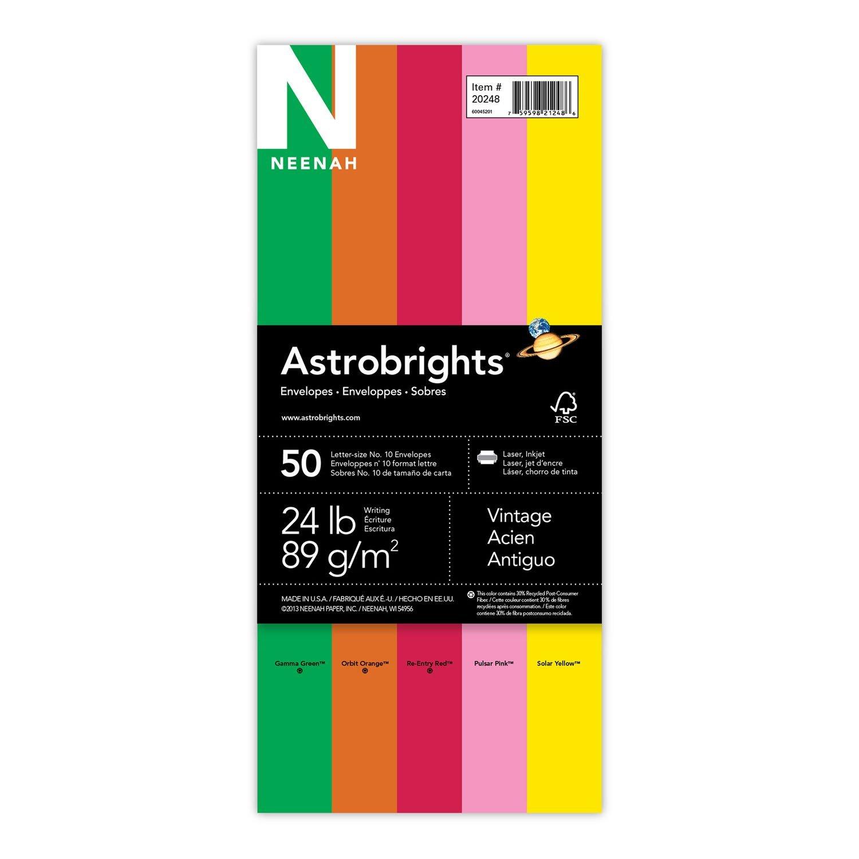 """Astrobrights Color #10 Envelopes, 4.125"""" x 9.5"""", """"Vintage"""" 5-Color Assortment, 50 Envelopes (20248)"""