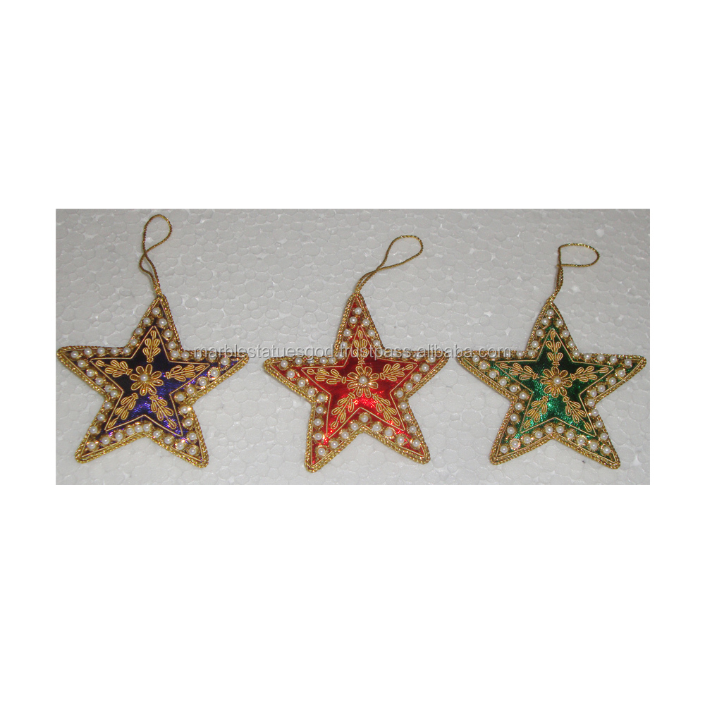 Hand Embroidery Christmas Tree Ornament, Tree Hanging Beaded Star