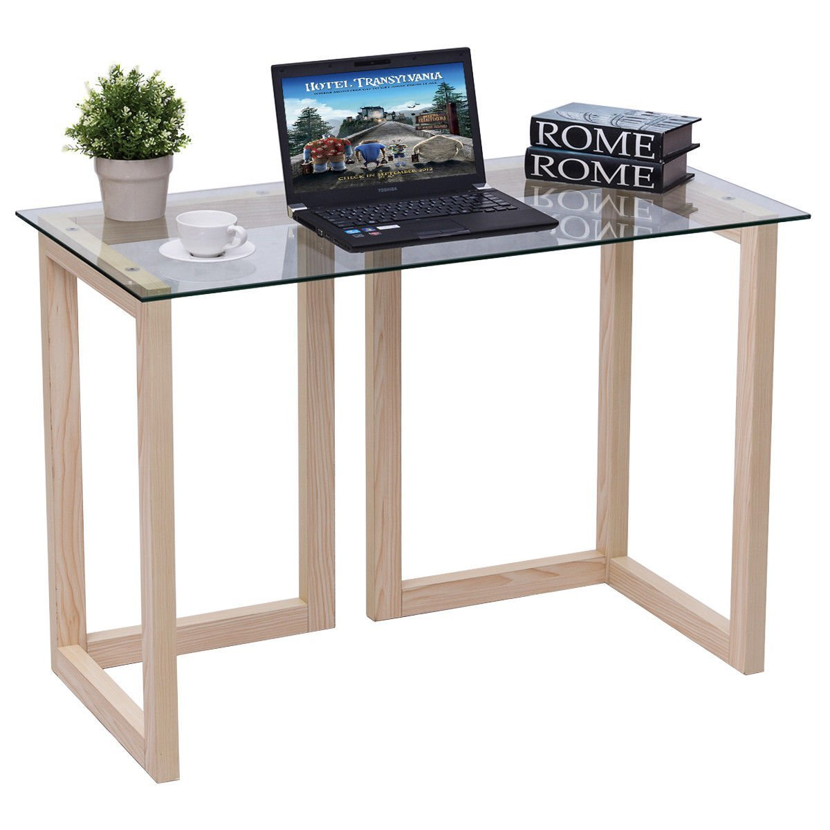 0992fd85f74 Get Quotations · TANGKULA Computer Desk Glass Top Computer Desk Modern Home  Office Workstation with Spacious Glass Top Work
