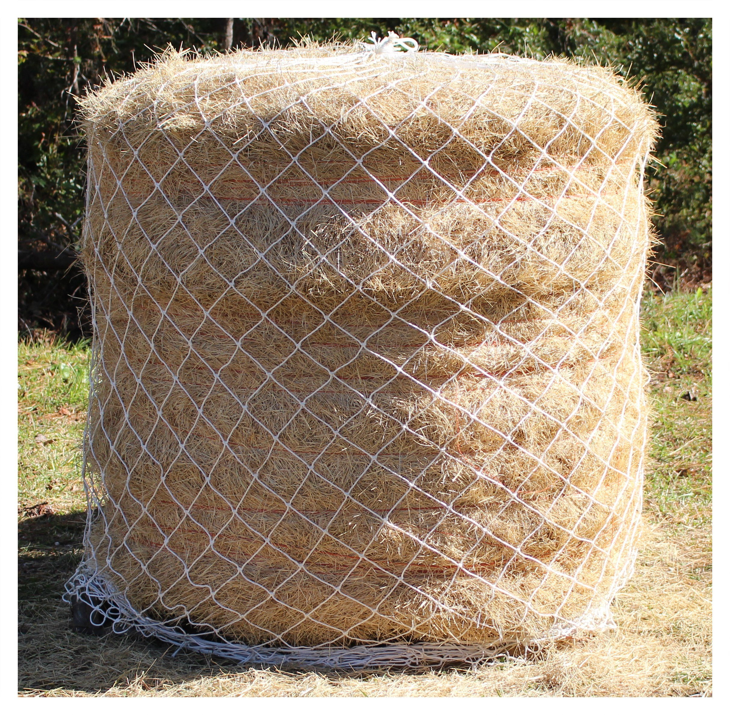 "25/' X 15/' Horse Hay Feeder White Nylon Bale Netting 2/"" #42 Twine Test 420 Lbs"