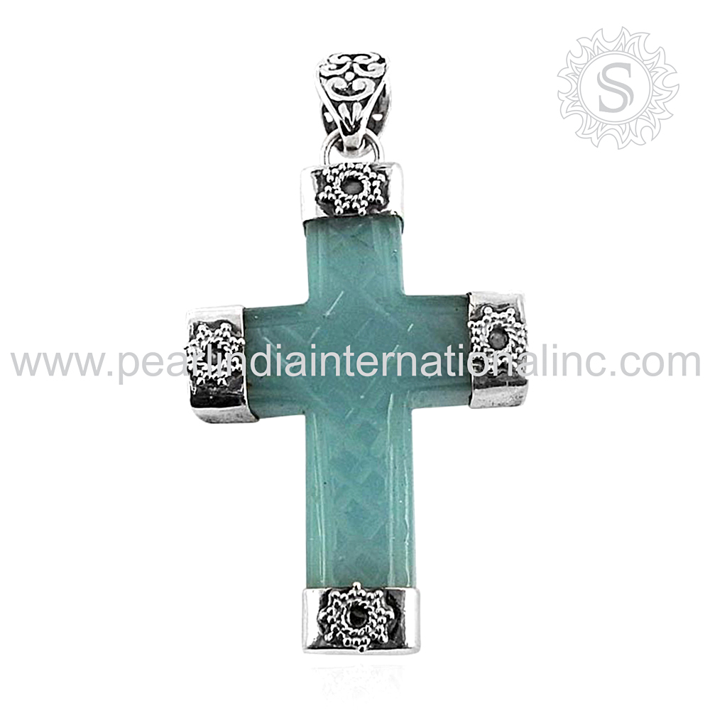 Cross pendant chalcedony gemstone jewelry offers 925 sterling silver pendant wholesaler jewelry exporter