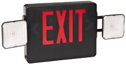 Morris Products 73031 LED Exit Light legend with Incandescent Emergency Lights Combo, Red Lettering, Black Housing (2)