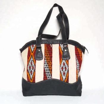 f45b3344216 Handgemaakte Marokkaanse kelim tassen tote leer en kelim handtas nieuwe  stijl Ref222