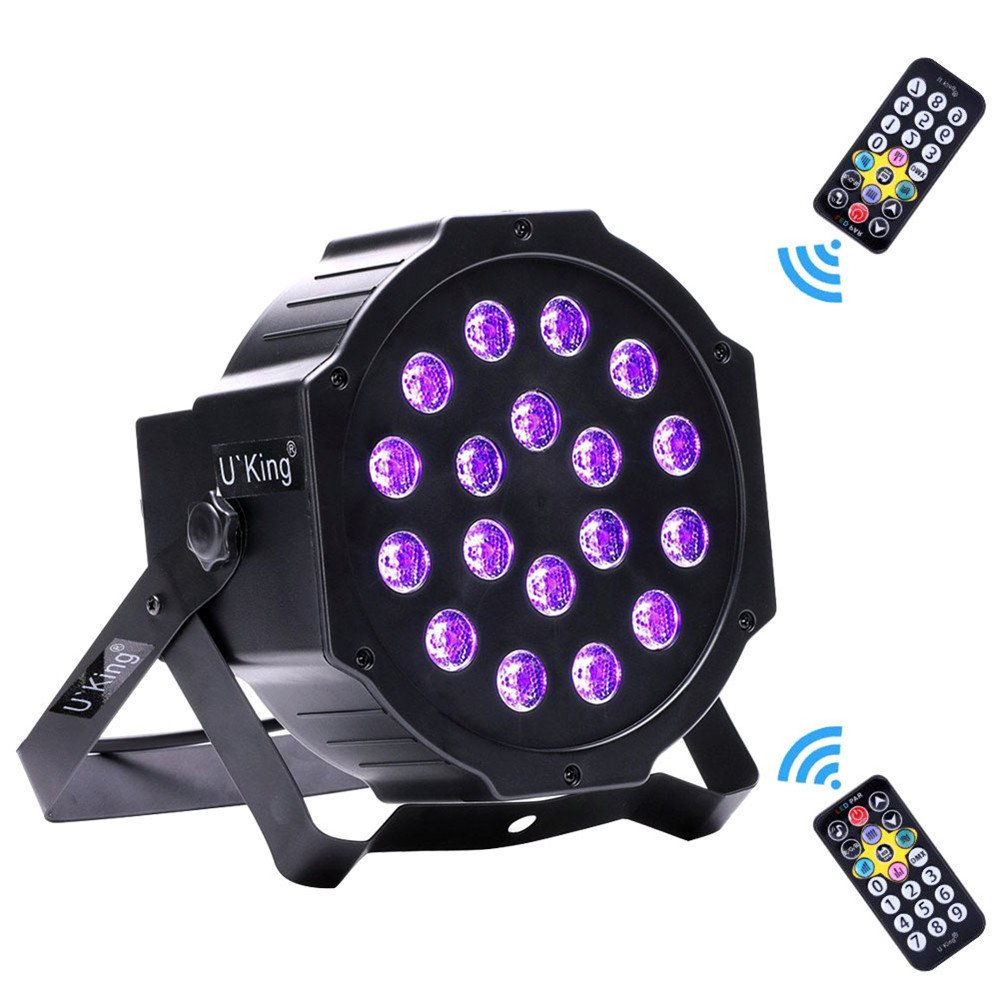 U`King UV Party Lights, 18 LEDs Stage Lights with DMX Controller and 2 IR Remote Par can for DJ Club Party Bar Disco Neon Party Stage Lighting