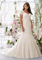 High Quality V Neck Lace Romantic Bridal Mermaid Wedding Dress Patterns
