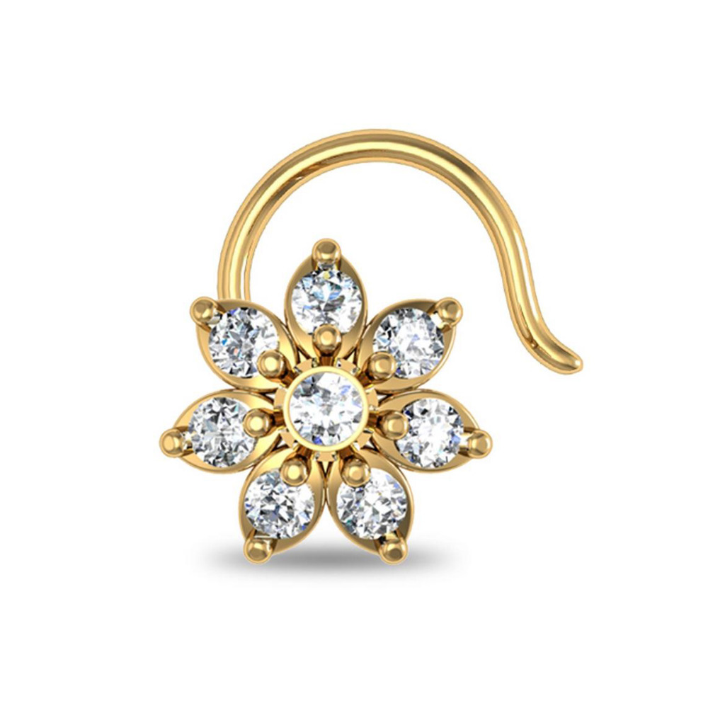 0.12ct Round Diamonds Flower Nose Piercing Pin Ring Stud Screw 14k Yellow Gold