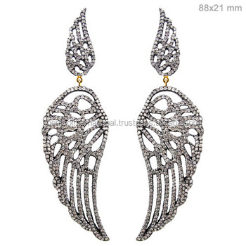 925 Sterling Silver Feather Jewelry Pave Diamond Angel Wings Earrings